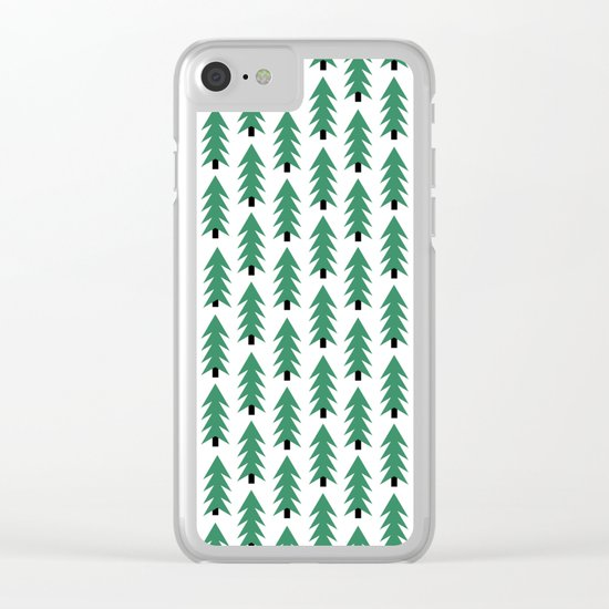 Christmas Tree forest holiday minimal decor festive winter trees green and white Clear iPhone Case