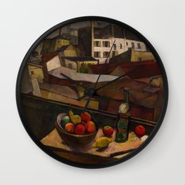 Diego Rivera - Knife and Fruit in Front of the Window Wall Clock
