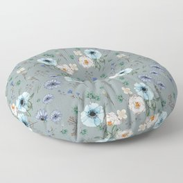 Blue and White Floral Pattern Peonies Floor Pillow