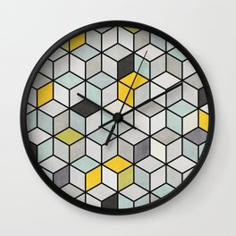 Colorful hexagon concrete cubes Wall Clock