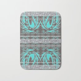 Teal, Grey and Silver Banded Textile Bath Mat