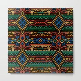 African tribal pattern, colorful lines Metal Print