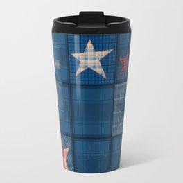 Blue denim patchwork . Travel Mug