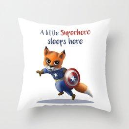 Superhero Fox Throw Pillow