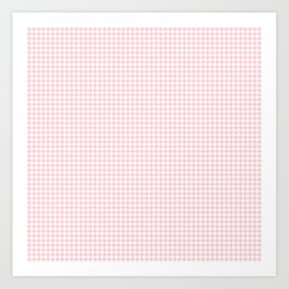 Pale Millennial Pink Pastel and White Houndstooth Check Art Print