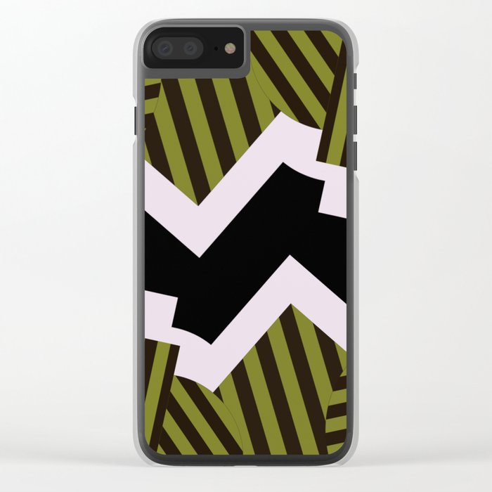 Bold Stripes - Black and white, brown and khaki stripes, abstract geometry Clear iPhone Case