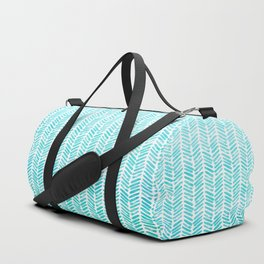Handpainted Chevron pattern - small - light green and aqua teal Duffle Bag