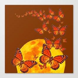 MONARCH BUTTERFLIES GOLDEN MOON BROWN FANTASY Canvas Print
