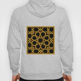 Black and Yellow Islamic Geometric Art Hoody