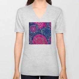 Hippie 1960's Paisley Boho Pattern in Blue & Pink Unisex V-Neck