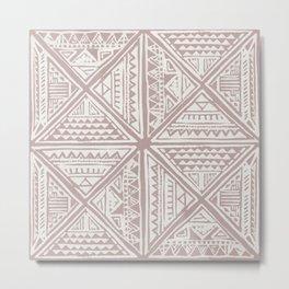 Simply Tribal Tile in Red Earth on Lunar Gray Metal Print