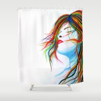 wind Shower Curtains featuring Wind by Souls & Colors