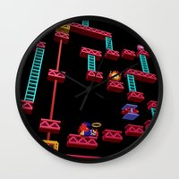 donkey kong Wall Clocks featuring Inside Donkey Kong stage 3 by Metin Seven