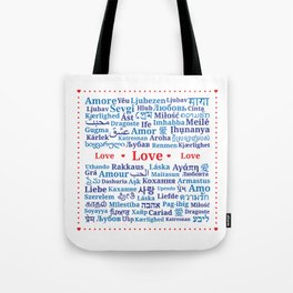 "Pattern of the words ""Love"" in different languages of the World Tote Bag"