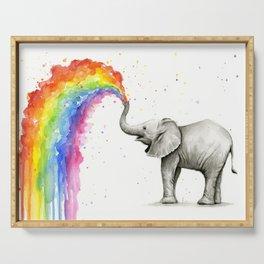 Baby Elephant Spraying Rainbow Serving Tray