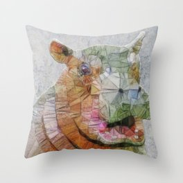 abstract hippo Throw Pillow