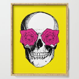 Skull and Roses | Skull and Flowers | Vintage Skull | Yellow and Pink | Serving Tray