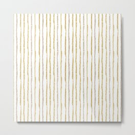 Gold & Silver Sparkle Lines Metal Print