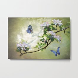Butterflies and Apple Blossoms Metal Print