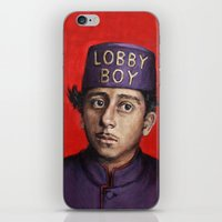 budapest hotel iPhone & iPod Skins featuring Lobby Boy / Grand Budapest Hotel / Wes Anderson by Heather Buchanan