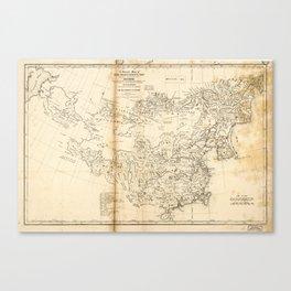 Map of China Chinese-Tartary & Tibet (1834) Canvas Print