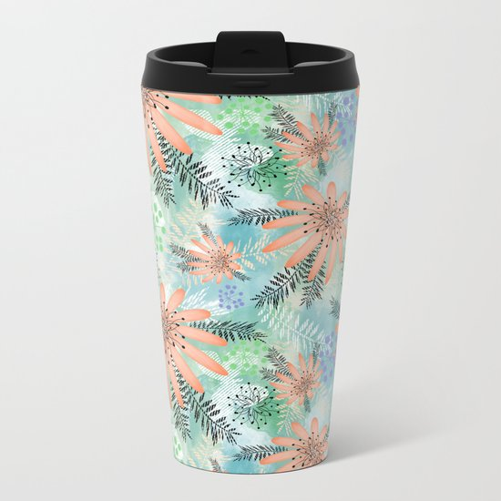 Pink - orange flowers on watercolor background. Metal Travel Mug