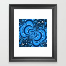 Blue and silver thorns fractal Framed Art Print