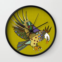jewel eagle chartreuse Wall Clock