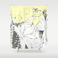 botanical Shower Curtains featuring Botanical by rosanna corfe