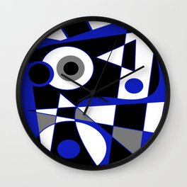 Abstract #505 Blue Wall Clock