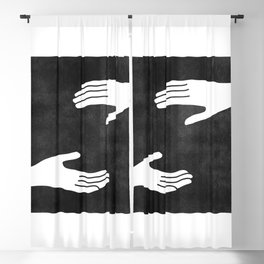 2 hands black and white Blackout Curtain