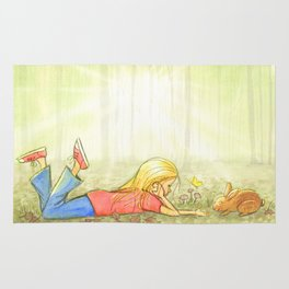 Little Girl In The Woods - Artwork that re-visits your favorite childhood memories Rug