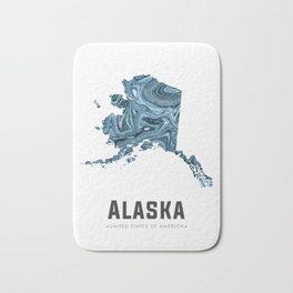 Alaska - State Map Art - Abstract Map - Blue Bath Mat