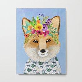 Fox with floral crown Metal Print