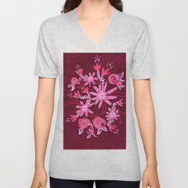 Cranberry Nocturne Rose Unisex V-Neck