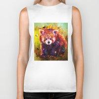 red panda Biker Tanks featuring red panda by ururuty