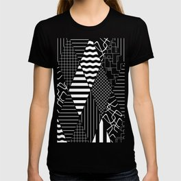 Black and White Diamond Collage Pattern T-shirt