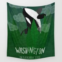 washington Wall Tapestries featuring Washington by Santiago Uceda