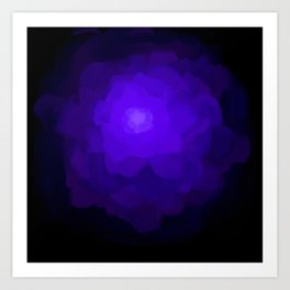 Glowing Blue Rose Emerging from  Darkness Art Print