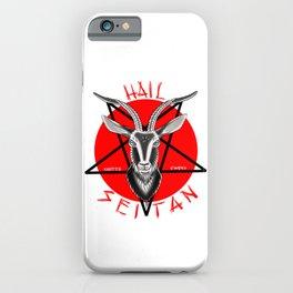 Hail seitan // vegan // baphomet iPhone Case