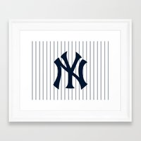 yankees Framed Art Prints featuring Yankees MLB by Minimal Luck