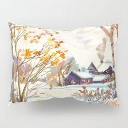 Late Autumn. First Snow. Rural Landsape. Birches Pillow Sham