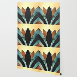 Art Deco Bloom --Turquoise, Stained Glass, Gold Wallpaper
