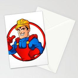 Superhero handyman in circle Stationery Cards