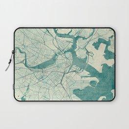 Boston Map Blue Vintage Laptop Sleeve