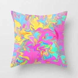 pink oil slick Throw Pillow
