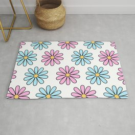 Pink and Blue Daisies Rug