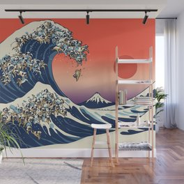 The Great Wave of Pug Wall Mural