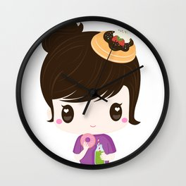 Breakfast Too! Kawaii Girl & Desserts for Breakfast Wall Clock