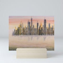 New York City Skyline, Watercolor Painting Mini Art Print
